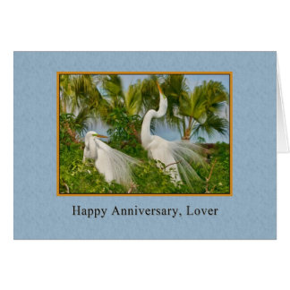 Anniversary, Lover, Great Egret Birds Greeting Cards
