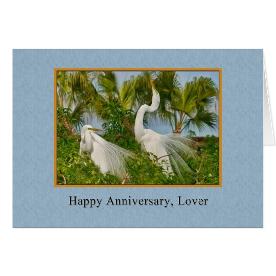 Anniversary, Lover, Great Egret Birds Card