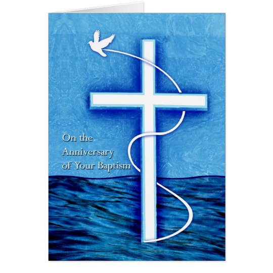 Anniversary of Baptism, Dove and Cross in Water