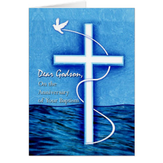 Anniversary of Baptism for Godson, Dove and Cross Card