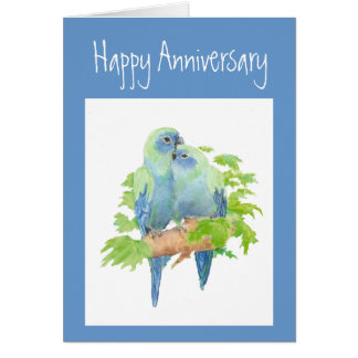 Anniversary,  Parrots, Tropical Bird Card