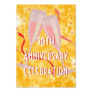 Anniversary party champagne gold invitation