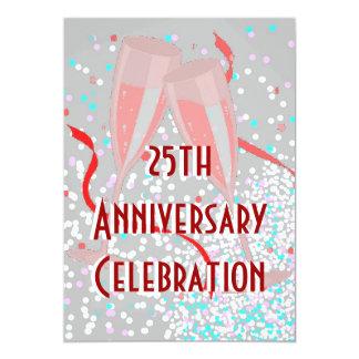 Anniversary party champagne silver invitation
