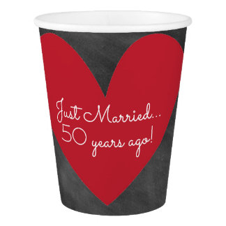 Anniversary Party Cups | Chalkboard with Red Heart