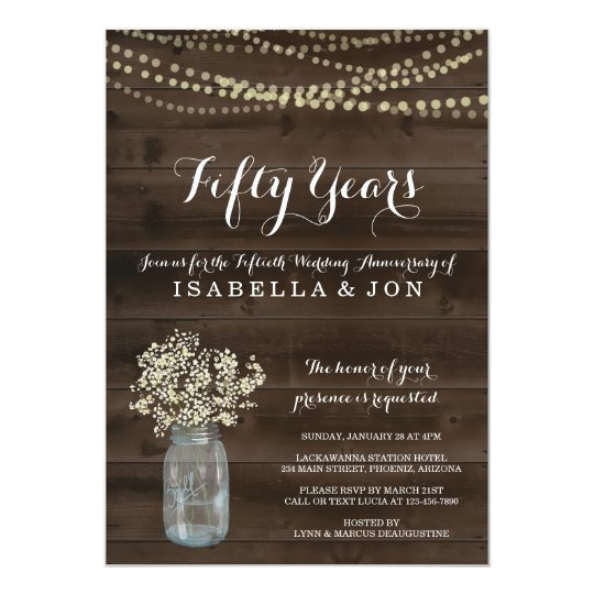Anniversary Party Invitation | Rustic Babys Breath
