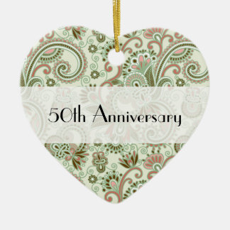 Anniversary - Persian Paisley, Swirls - Green Pink Ceramic Heart Decoration