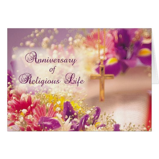 Anniversary Religious Life, Nun, Flowers and Cross Card