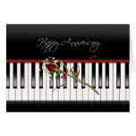Anniversary Rose on Piano Greeting Card