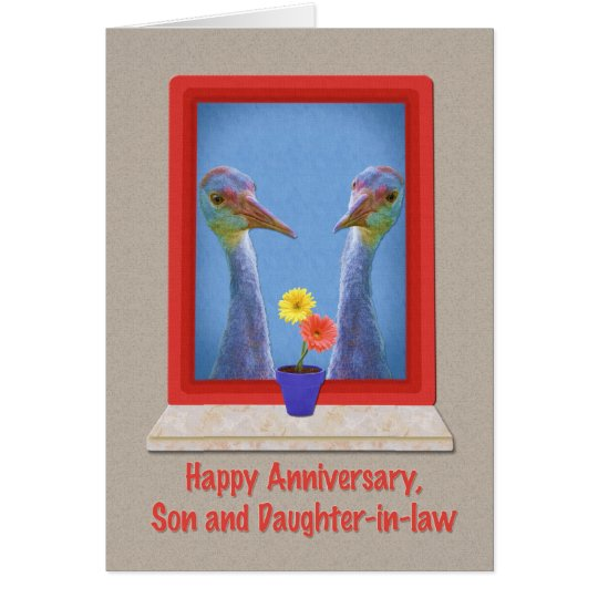 Anniversary son and daughter in law cranes greeting card
