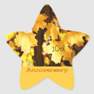 Anniversary stickers seals Golden Yellow Leaves