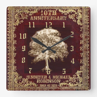Anniversary Tree of Life Vintage Square Wall Clock