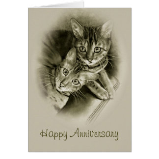 Anniversary: Two Bengal Cats, Original Pencil ART Card