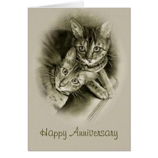 Anniversary: Two Bengal Cats, Original Pencil ART Greeting Card