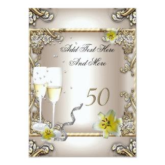 Anniversary Wedding  Cream Gold Lily Silver Card