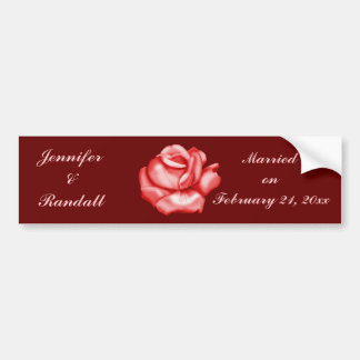 """Anniversary/Wedding Date"" - Red Rose Bloom Bumper Sticker"