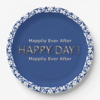 Anniversary_Wedding-Navy-White--Lace_Unisex Paper Plate