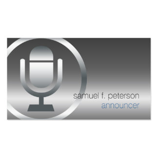 Announcer Chrome Microphone Icon Entertainment Pack Of Standard Business Cards