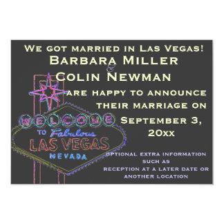 Announcing Our Wedding in Las Vegas 13 Cm X 18 Cm Invitation Card