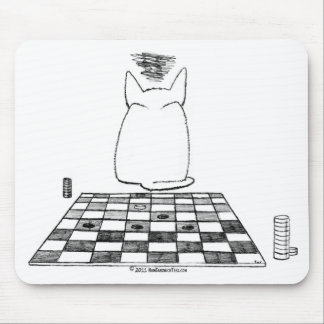 Annoyed Cat Checkers Mousepad