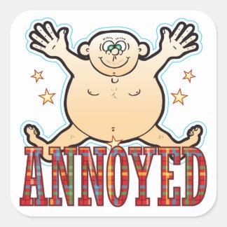 Annoyed Fat Man Square Sticker