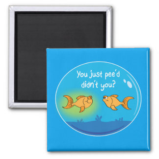 Annoyed Goldfish Square Magnet