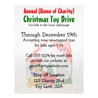 Annual Charity Christmas Toy Drive Puppy Cartoon Flyers