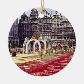 Annual Flower Festival at La Grande Place, Brussel Round Ceramic Decoration