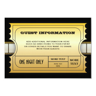 Annual Movie Awards Party Golden Ticket Insert 9 Cm X 13 Cm Invitation Card