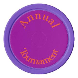 Annual Tournament-Orange Text Poker Chips