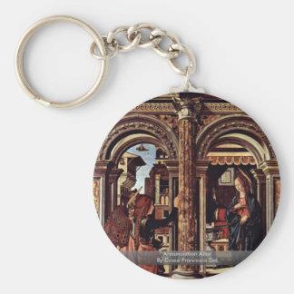 Annunciation Altar By Cossa Francesco Del Basic Round Button Key Ring