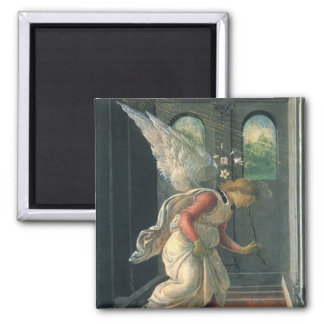 Annunciation (angel detail) by Sandro Botticelli Square Magnet