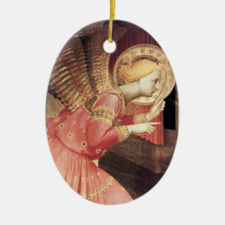ANNUNCIATION ANGEL IN PINK AND GOLD Gem stone Christmas Ornament