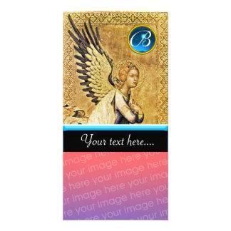 ANNUNCIATION ANGEL MONOGRAM, Blue Sapphire Custom Photo Card