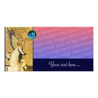 ANNUNCIATION ANGEL MONOGRAM, Blue Sapphire Customised Photo Card