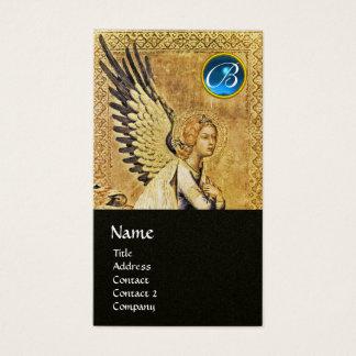 ANNUNCIATION ANGEL MONOGRAM, Blue Sapphire Gold