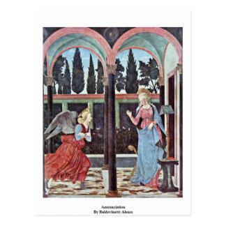 Annunciation By Baldovinetti Alesso Postcard