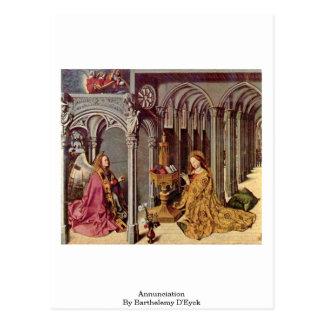 Annunciation By Barthelemy D Eyck Postcard