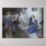 Annunciation by JW Waterhouse, Victorian Fine Art Poster