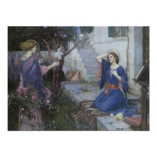 Annunciation by JW Waterhouse, Victorian Fine Art Poster