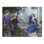 Annunciation by JW Waterhouse, Victorian Religious Postcard
