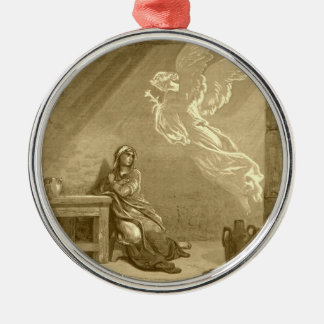 Annunciation of Blessed Virgin Mary Silver-Colored Round Decoration