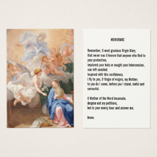 Annunciation of Mary Memorare Prayer Business Card