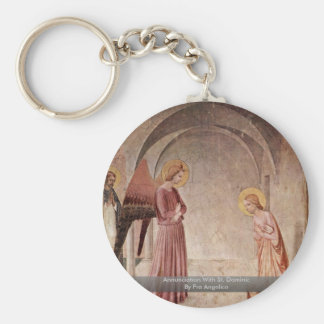Annunciation With St. Dominic By Fra Angelico Basic Round Button Key Ring