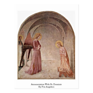 Annunciation With St. Dominic By Fra Angelico Postcard