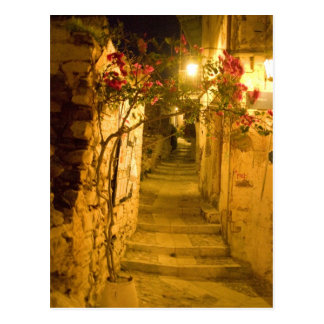 ano syros at night postcard