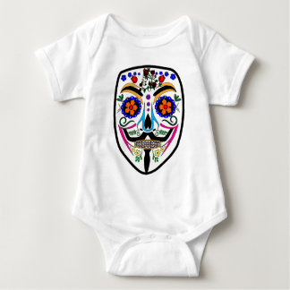 ANONYMOUS Day of the Dead 4 Anon Mask Sugar skull Tee Shirt