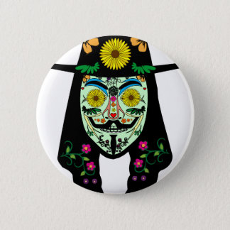 ANONYMOUS Day of the Dead 5 Anon Mask Sugar skull 6 Cm Round Badge