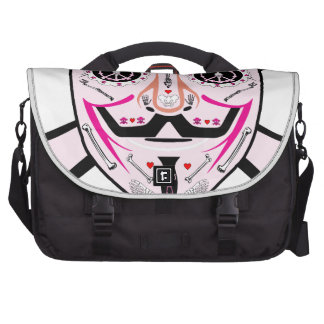 ANONYMOUS Day of the Dead Pink Art Anon Mask 4Chan Laptop Messenger Bag