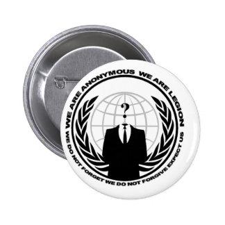 Anonymous logo w/motto 6 cm round badge