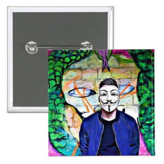 Anonymous Mask Truth & Justice Seeker Graffiti 15 Cm Square Badge